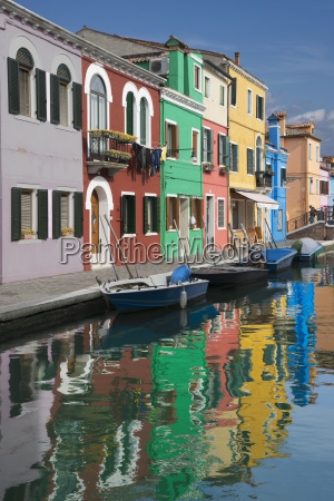 multi colored houses and canal burano