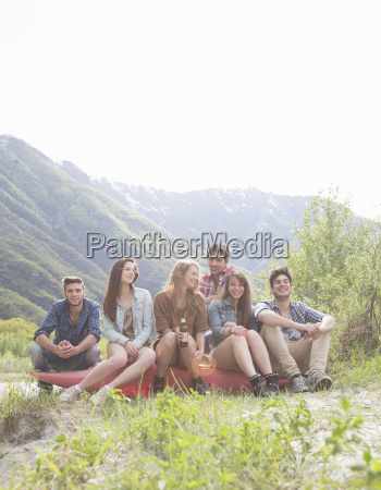 group of six young adult friends