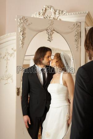 young, bridal, couple, kissing - 18179620