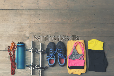 top view of fitness gym equipment
