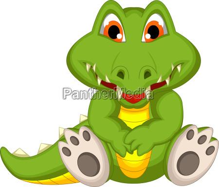 lustige krokodilkarikatur sitzend