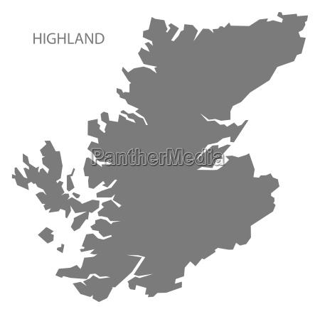 highland schottland karte grau