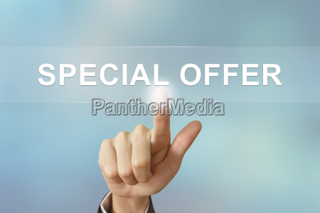 business hand clicking special offer button