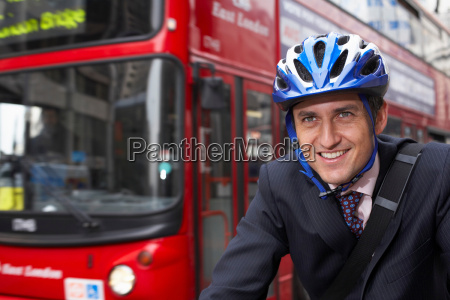 business man on a bicycle