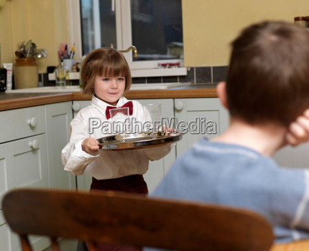 girl dressed as waitress