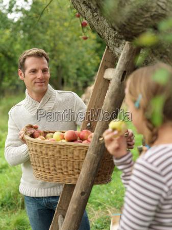 man looking at girl while picking