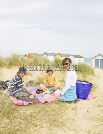 woman and children picnic
