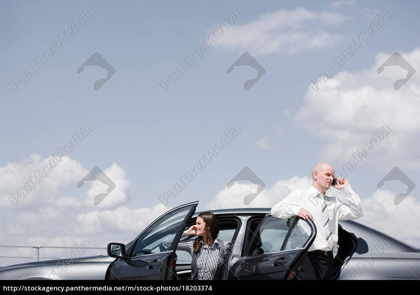 man, and, woman, near, car, on - 18203374