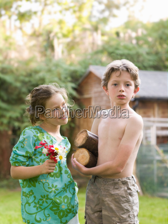 young boy and girl set up