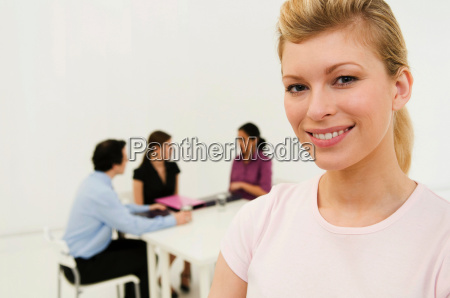 happy business women looks to camera