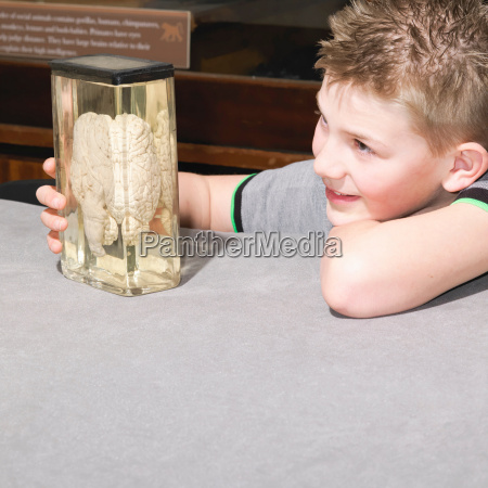 boy looking at jar containing a
