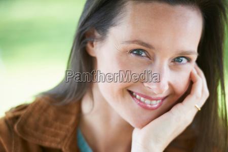 nahaufnahme, der, lächelnden, frau - 18208394