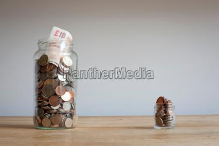 large and small savings jars on
