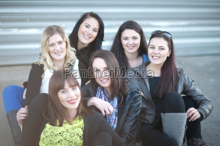 group portrait of young female friends