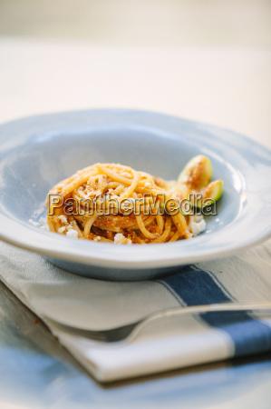 still life of bowl of spaghetti