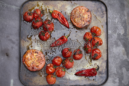 tray of roasted tomatoes and chillis