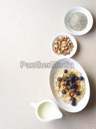 still life of porridge with fruit