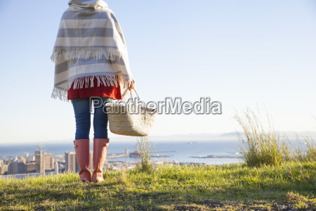 rear view of young woman on