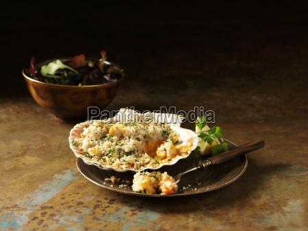 prawn langoustine bake in scallop shells