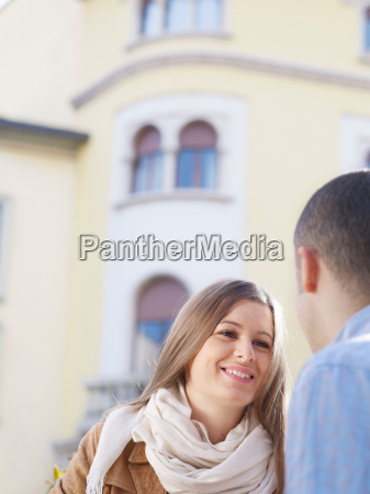 young couple in a european street