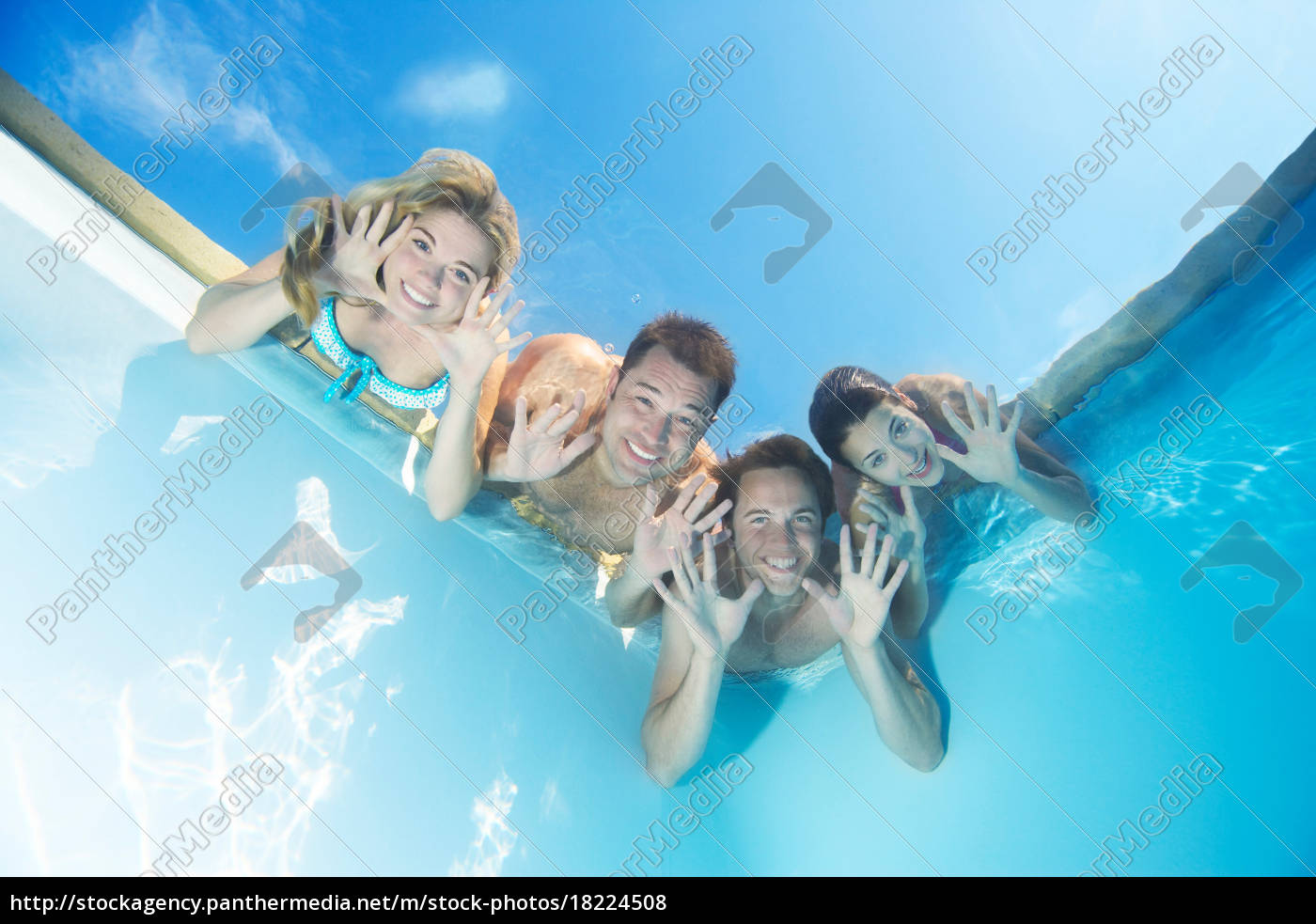 group, of, friends, in, pool - 18224508