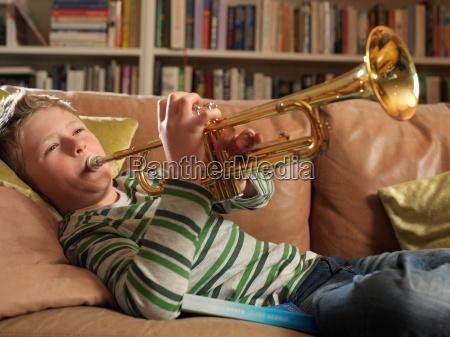 boy 11 playing trumpet