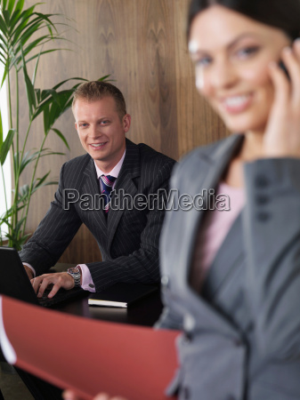 business, man, and, woman, in, office - 18227966