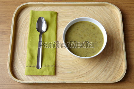 tray with bowl of soup and