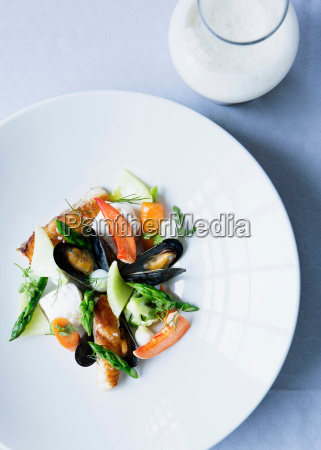 plate of mussels with salad