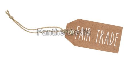 brauner anhaenger mit der beschriftung fair