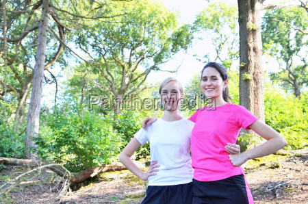 portrait of two young women runners