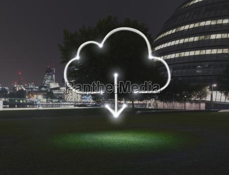 leuchtende wolke symbol mit download pfeil