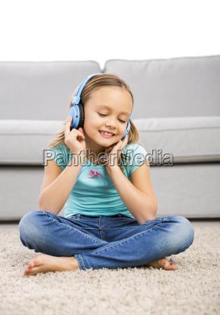 cute girl listen music