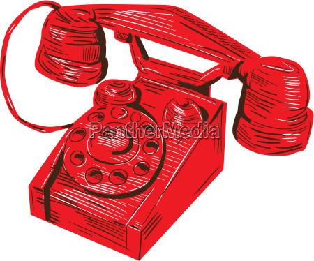 telefon, vintage-zeichnung - 18246330