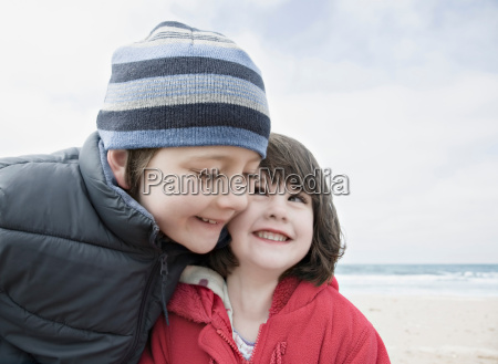boy girl hugging