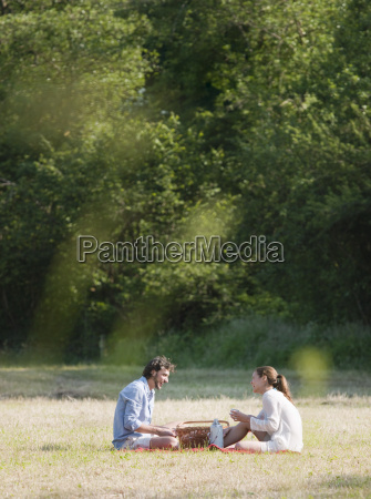couple having a picnic in countryside