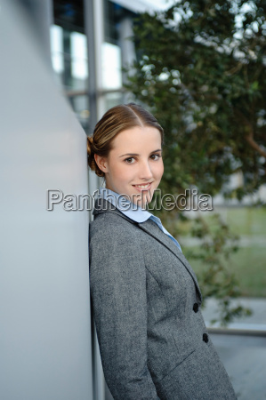 businesswoman smiling in office