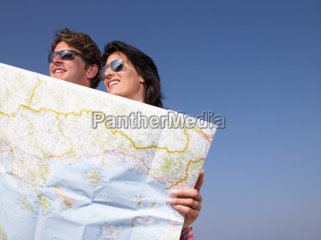 couple looking at a map