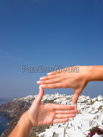 womans hands framing the view
