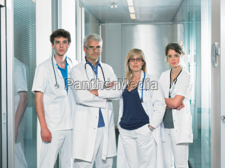 group shot of four doctors in