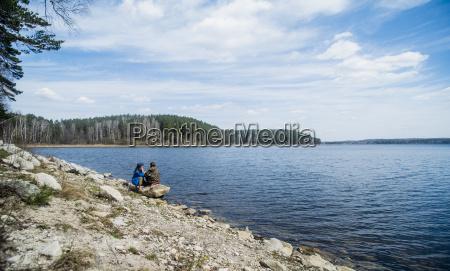 two female hiking friends taking a