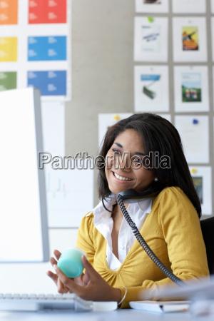 businesswoman using telephone