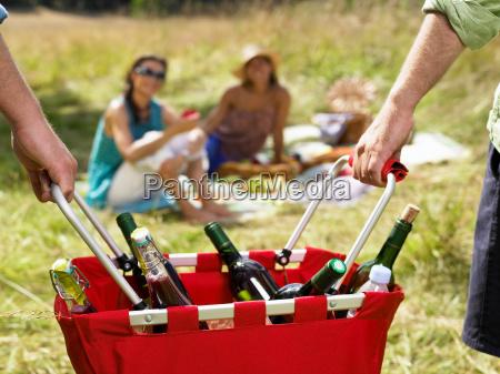 friends having a picnic in a