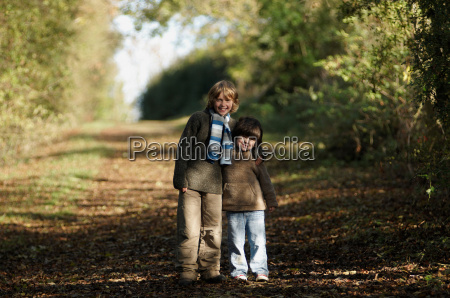two boys on country lane