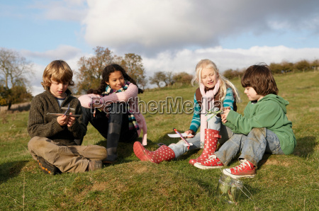 group of children on hill