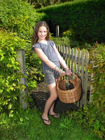 girl in her vegetable garden