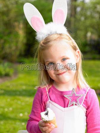 girl wearing a bunny costume