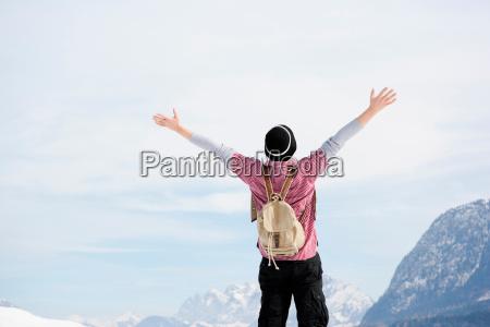 man embracing sky