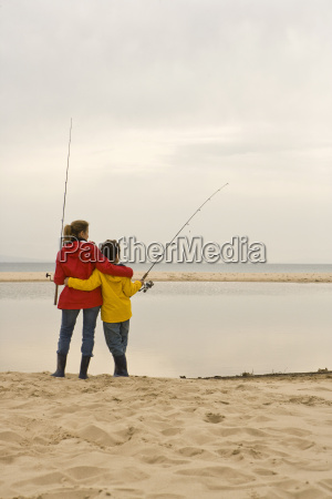 mother and son fishing at beach