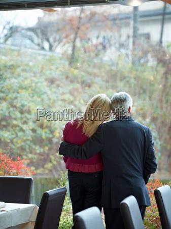 senior couple having an intimate moment